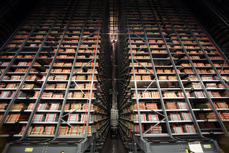 The storage void of the British Library National Newspaper Building at Boston Spa in West Yorkshire - Copyright The British Library Board